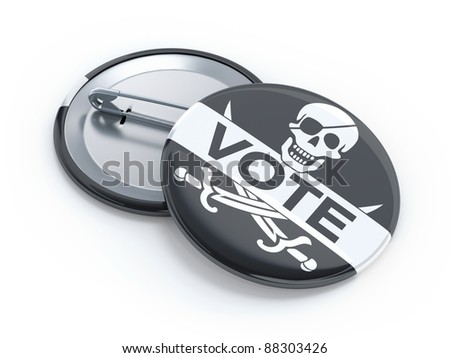 Pirate party vote badge - stock photo