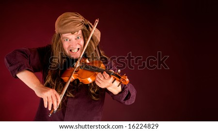 Pirate Playing Violin and Announcing Something - stock photo