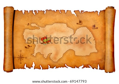 Pirate's treasure map, empty, ready for your text - stock photo