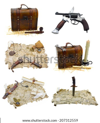 Pirate set with maps and guns isolated on white - stock photo