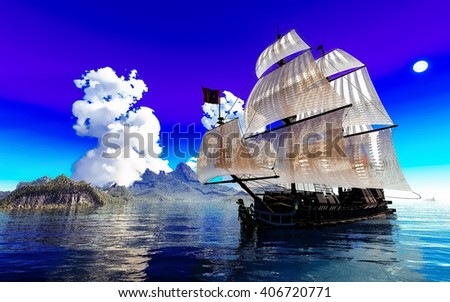 Pirate Ship And active volcano in 3d illustration - stock photo