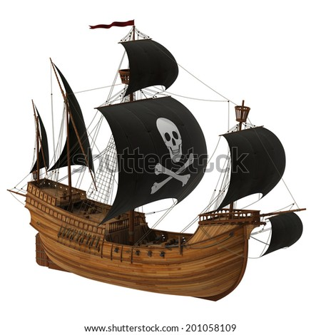 Pirate Ship. 3D Model. - stock photo