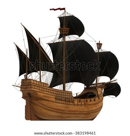 Pirate Ship. 3D Model. - stock photo