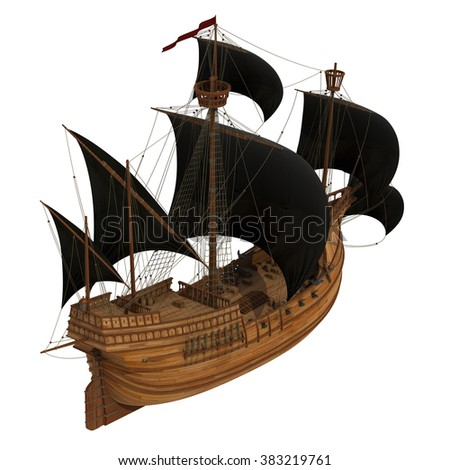 Pirate Ship. 3D Model On White Background. - stock photo