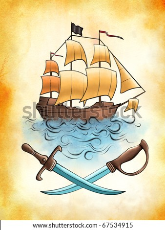 Pirate ship drawing on an old piece of stained paper. Digital illustration. - stock photo