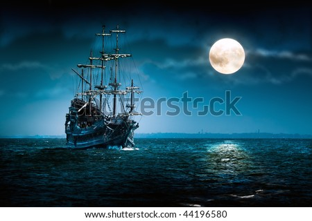 Pirate ship Flying Dutchman - stock photo