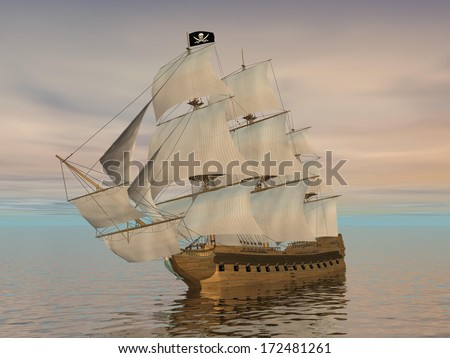Pirate ship holding black Jolly Roger flag and floating on the ocean by cloudy sunset - stock photo