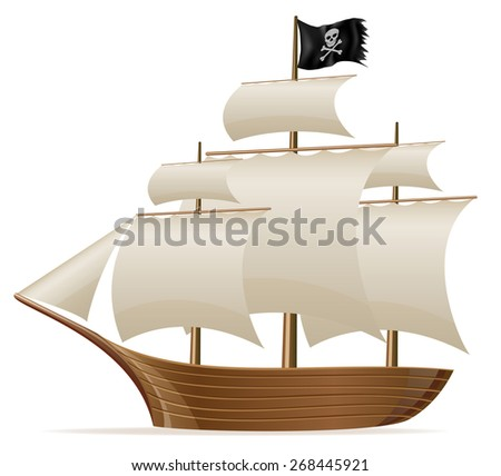 pirate ship illustration isolated on white background - stock photo