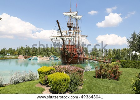 Pirate Ship in Sazova Science, Art and Cultural Park in Eskisehir City, Turkey