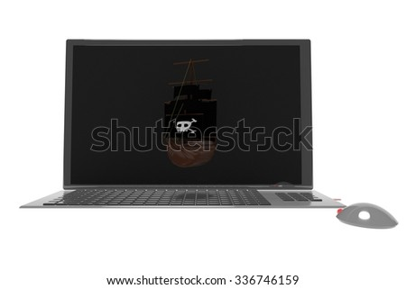 Pirate ship over screen of a laptop, 3d render, horizontal image - stock photo