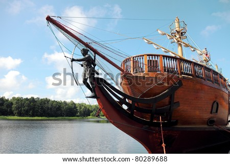 pirate ship sailing - stock photo