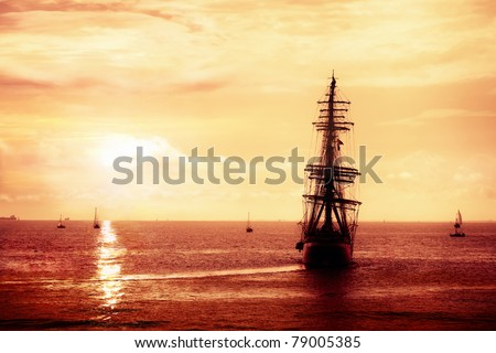 Pirate ship sailing, treasure seeker