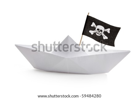 Pirate Ship with white background - stock photo