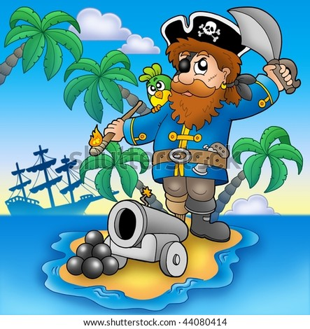 Pirate shooting from cannon - color illustration. - stock photo