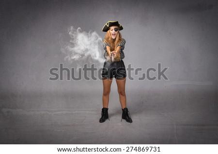 pirate shot with old gun, smoke on weapon - stock photo