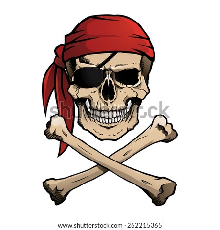 Pirate skull and crossbones, also known as Jolly Roger, wearing a bandana. - stock photo