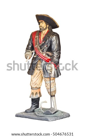 pirate statue isolated on the white background
