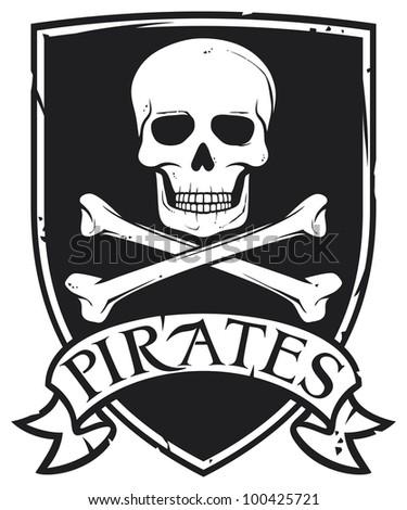 pirate symbol (emblem, coat of arms) - stock photo