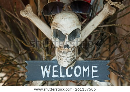"Pirate symbol, skull and bones, the word ""welcome"" - stock photo"