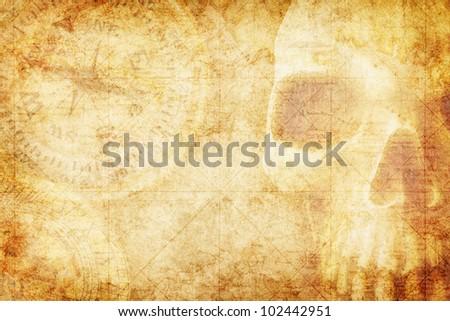 Pirate theme grunge background - stock photo