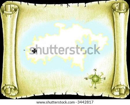 Pirate treasure map on old scroll - stock photo