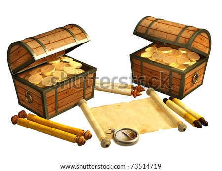 Pirate treasure. Objects isolated over white - stock photo