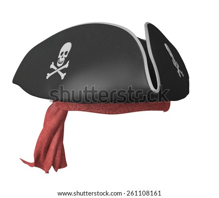 Pirate tricorn hat with skulls and a red bandana - stock photo