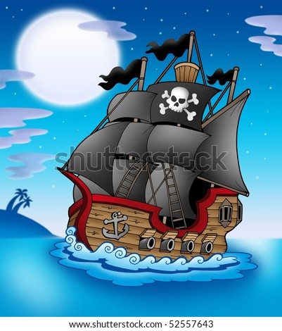 Pirate vessel at night - color illustration. - stock photo