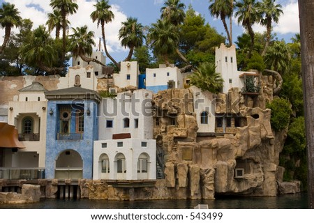 Pirate village in front of Treasure Island Hotel at Las Vegas Nevada (exclusive at shutterstock) - stock photo