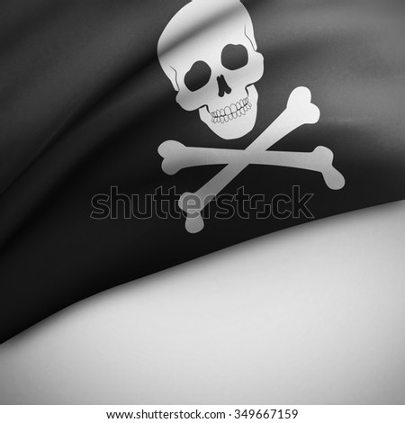 Pirate waving flag on white background