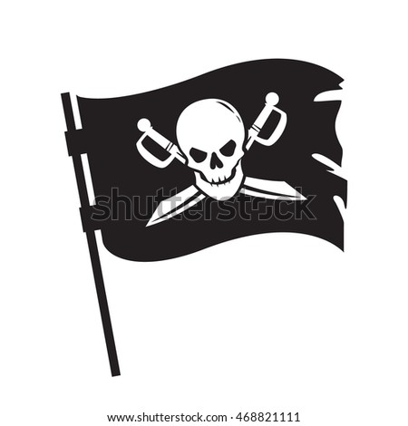 Pirate waving flag with image of human skull and crossed sabers isolated on white background. Filibuster symbol. Raster illustration.