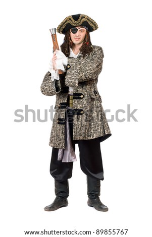 Pirate with a pistol in hand. Isolated on white - stock photo