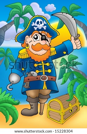 Pirate with sabre and treasure chest - color illustration.