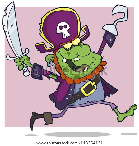 Pirate Zombie Cartoon Character. Raster Illustration.Vector version also available in portfolio.