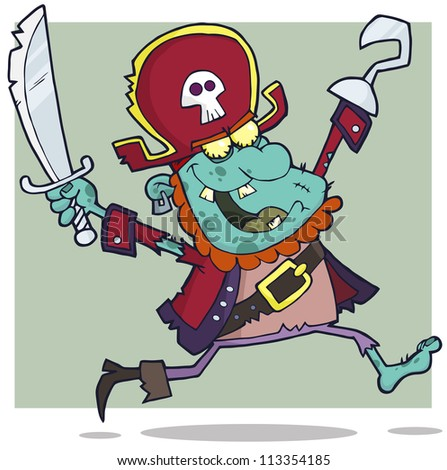 Pirate Zombie With A Cutlass Cartoon Character. Raster Illustration.Vector version also available in portfolio. - stock photo