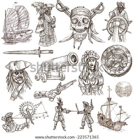 Pirates, Buccaneers and Sailors - Collection (no.2) of an hand drawn illustrations. Full sized hand drawn illustrations drawing on white (isolated). - stock photo