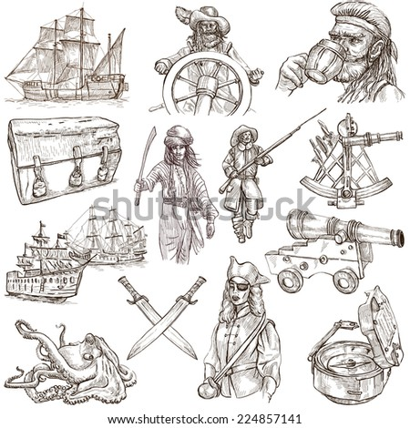 Pirates, Buccaneers and Sailors - Collection (no.3) of an hand drawn illustrations. Full sized hand drawn illustrations drawing on white (isolated). - stock photo