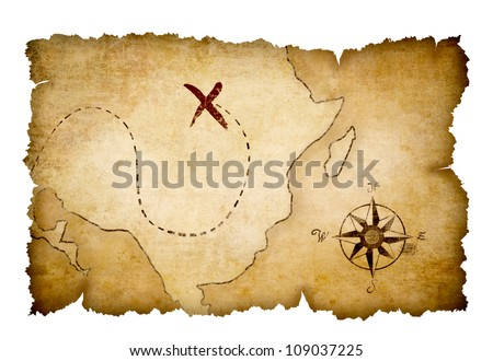 Pirates map with marked treasure location by cross - stock photo