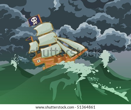 Pirates ship in storm sea