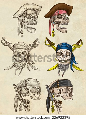 Pirates, Skulls - Collection (colored and line art pack no.1) of an hand drawn illustrations. Full sized hand drawn illustrations drawing on old paper. - stock photo