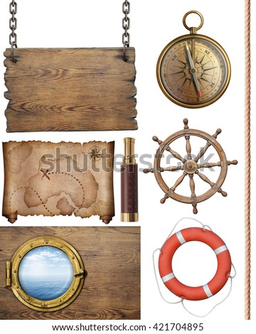 pirates treasure map  and other nautical objects 3d illustration isolated - stock photo