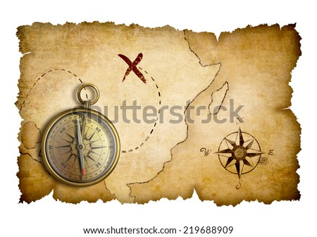 Pirates treasure map with compass isolated - stock photo