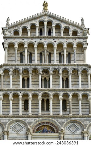 Pisa Cathedral, a masterpiece of Romanesque architecture - stock photo