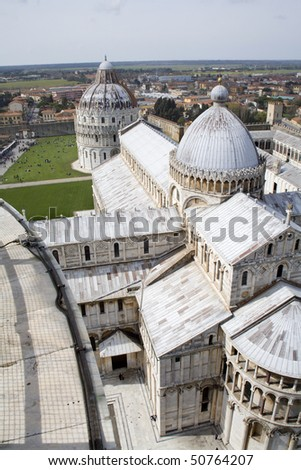 Pisa - cathedral and baptistery of st. John a - Piazza dei Miracoli - look from hanging tower