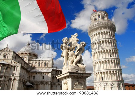 PISA famous Leaning Tower in Italy - stock photo