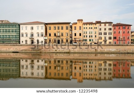Pisa - Florence houses on Arno River - stock photo