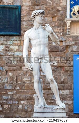 Pisa, Italy - August 10, 2013: The statue of David on Piazza della Signoria, Florence, Italy - stock photo