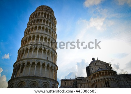 Pisa Italy, dome and leaning tower - stock photo