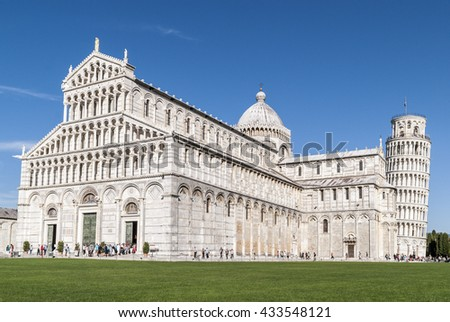 PISA, ITALY, EU -  SEPTEMBER 21, 2012: the cathedral with the Leaning Tower in the so-called Square of Miracles or Piazza dei Miracoli