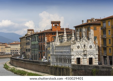 PISA, ITALY, JUNE 08, 2016 : architectural details of Santa Maria della spina cathedral, june 08, 2016 in Pisa, Italy